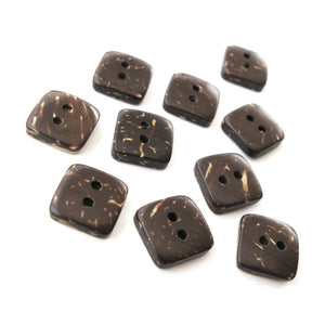 10 Brown Coconut Shell Buttons 9mm -  Tiny square shape