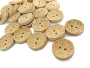 Wooden button - Flower Pattern Unfinished Wood Sewing Buttons Natural Color 20mm - set of 12