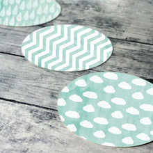 Load image into Gallery viewer, Printable round tags or cupcake toppers  - Aqua Cloud, Rain, Chevron, Digital Circle Collage Sheet