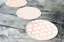 Load image into Gallery viewer, Printable round tags or cupcake toppers  - Peach Cloud, Rain, Chevron, Digital Circle Collage Sheet