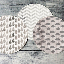 Load image into Gallery viewer, Printable round tags or cupcake toppers  - Pewter Cloud, Rain, Chevron, Digital Circle Collage Sheet