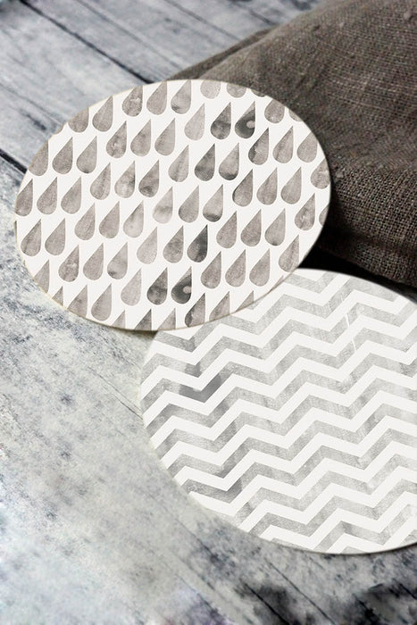 Printable round tags or cupcake toppers  - Pewter Cloud, Rain, Chevron, Digital Circle Collage Sheet