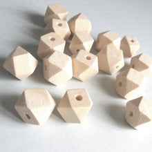 Load image into Gallery viewer, 10 Faceted hexagon unfinished wood beads 10, 12 or 14mm