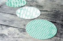 Load image into Gallery viewer, Printable round tags or cupcake toppers  - Mint Feather and Dots Digital Circle Collage Sheet