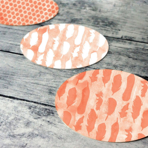 Printable round tags or cupcake toppers  - Coral Feather and Dots Digital Circle Collage Sheet