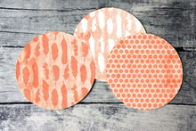 Load image into Gallery viewer, Printable round tags or cupcake toppers  - Coral Feather and Dots Digital Circle Collage Sheet