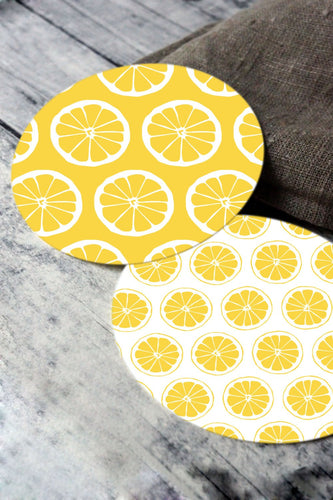 Printable round tags or cupcake toppers  - Yellow Citrus and Dots Digital Circle Collage Sheet