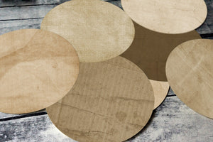 One and half (1 1/2) Inch Round Tags Images - Brown Paper - Digital Collage Sheet