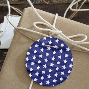 Digital Circle Collage Sheet - Blue Stars and Stripes - Printable round tags, cabochon or cupcake toppers