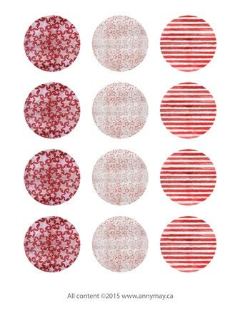 graphic relating to Printable Round Tags named Electronic Circle Collage Sheet - Crimson Celebs and Stripes - Printable spherical tags, cabochon or cupcake toppers