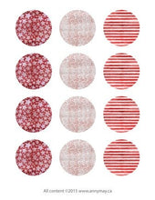 Load image into Gallery viewer, Digital Circle Collage Sheet - Red Stars and Stripes - Printable round tags, cabochon or cupcake toppers