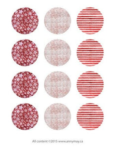 Digital Circle Collage Sheet - Red Stars and Stripes - Printable round tags, cabochon or cupcake toppers