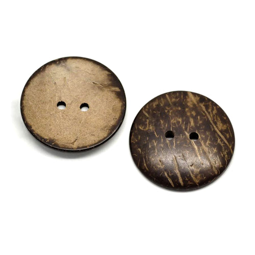 2 Large buttons 1 3/4 inch coconut buttons 44mm - Natural Wood and Eco Friendly buttons