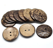Load image into Gallery viewer, 2 Large buttons 1 3/4 inch coconut buttons 44mm - Natural Wood and Eco Friendly buttons