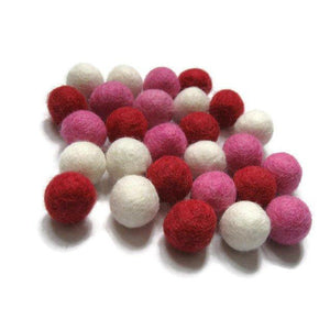 Felt balls 2cm or 1cm - Valentine Color Mix - 25 Pure Wool Beads