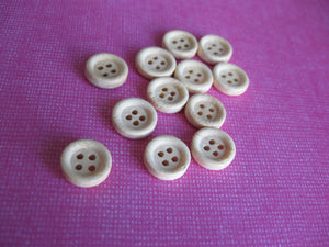 Natural unfinished wood button set of 12 small buttons 10mm