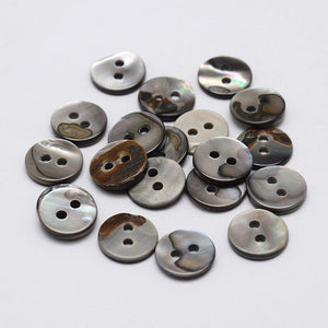 Mother of Pearl Shell Buttons 10mm - set of 8 eco friendly grey buttons