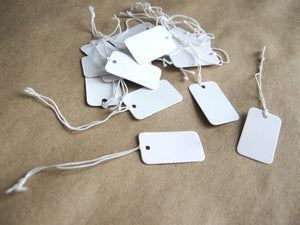 Jewelry price tags - Blank white rectangle tags - Set of 50