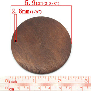 "1 Round wood pendant, brown, big focal bead, natural 6cm Dia. (2 3/8"")"