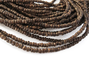 Tiny brown coconut beads 2-3mm