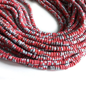 150 coconut beads marblized red and silver splashing 4-5mm