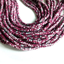 Load image into Gallery viewer, 150 coconut beads marblized wine red, pink and silver splashing 4-5mm