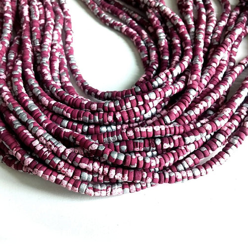 150 coconut beads marblized wine red, pink and silver splashing 4-5mm
