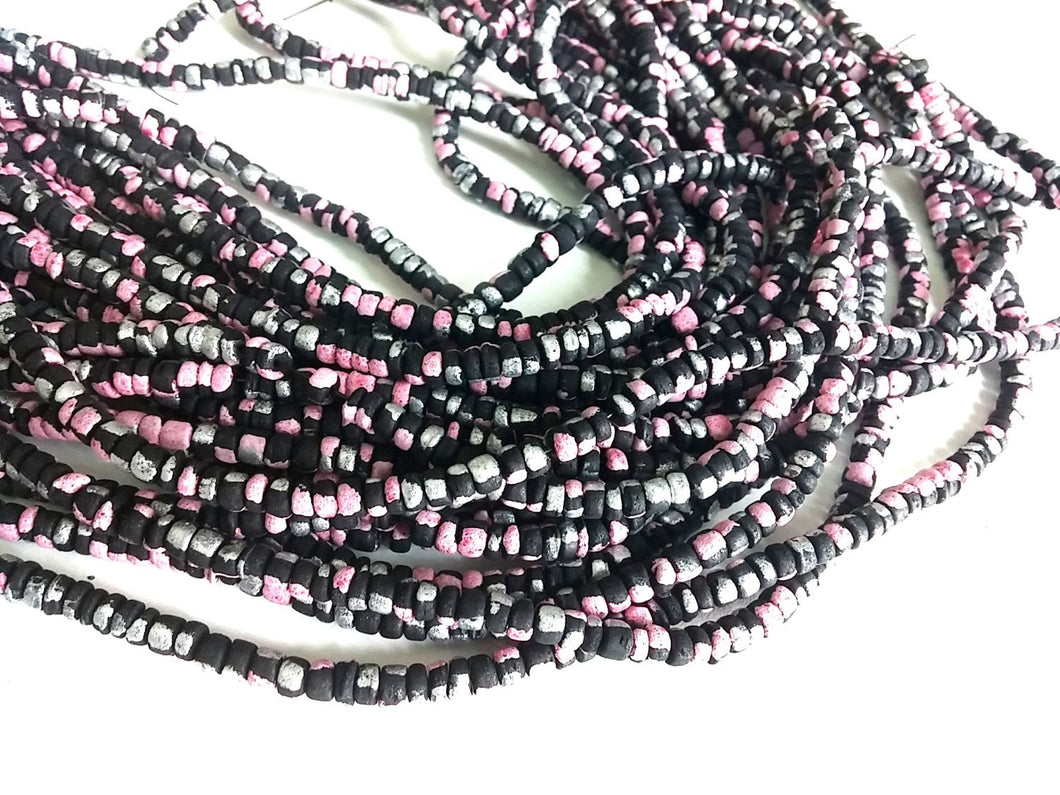 150 coconut beads marblized black, pink and silver splashing 4-5mm