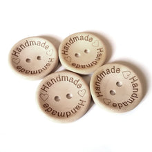 Load image into Gallery viewer, 4 Natural unfinished wood button with handmade logo engraved