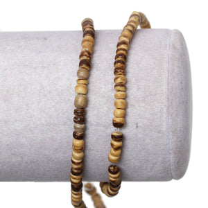 140 Natural marblized coconut wood Beads 4mm