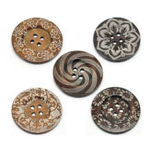 "Load image into Gallery viewer, Extra large button - 5 wooden button 60mm (2 3/8"") - mixed patterns no. 2"