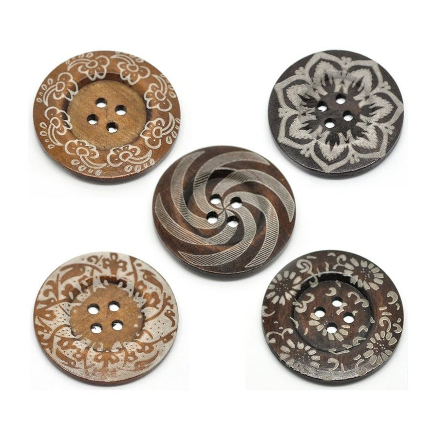 Extra large button - 5 wooden button 60mm (2 3/8