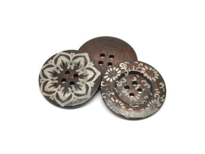 "Extra large button - 5 wooden button 60mm (2 3/8"") - mixed patterns no. 2"