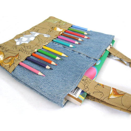 DIY Coloring Bag Sewing Pattern - Art bag for children tutorial PDF download ePattern