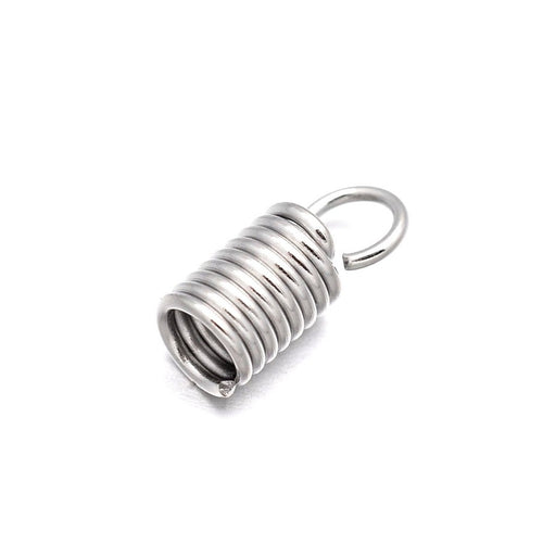 11x4.5mm Silver Cord Ends - Stainless steel spring coil ends - hypoallergenic necklace fasteners 20pcs