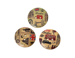 London wood sewing buttons - 5 Mixed Patterns scrapbooking buttons