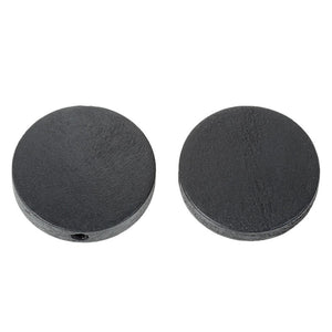 Large wooden beads flat round 25mm in black - 10 pces