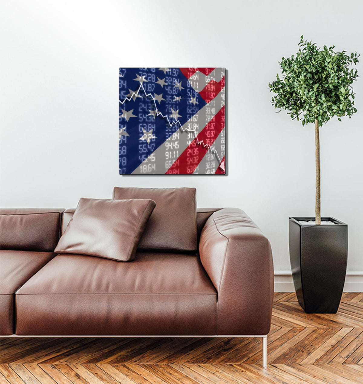 America Flag Stock Market Chart - Metal Wall Art