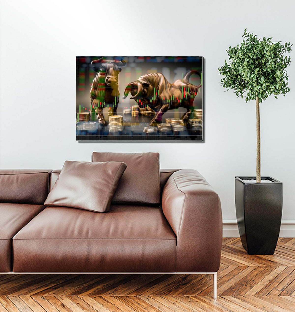 Bronze Bull vs Bear Acrylic Wall Art