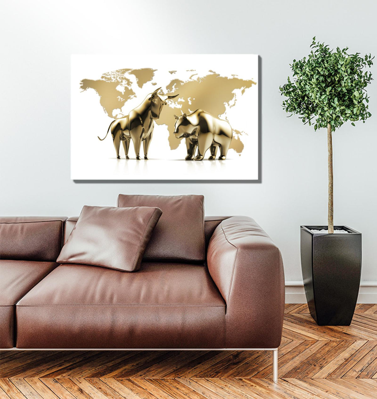 Golden Global Money Markets Acrylic Wall Art