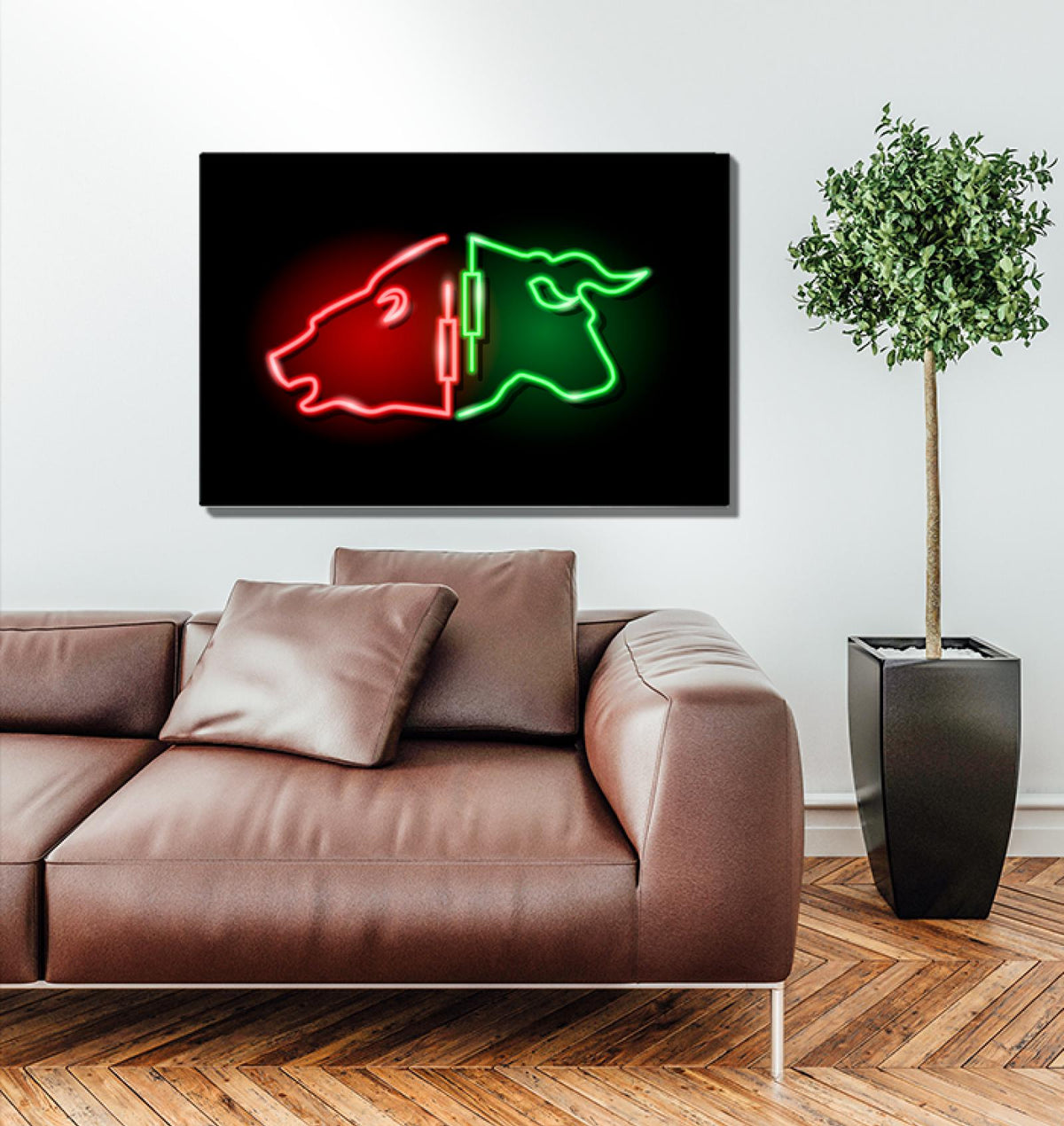 Neon Sign Bull Bear Acrylic Wall Art
