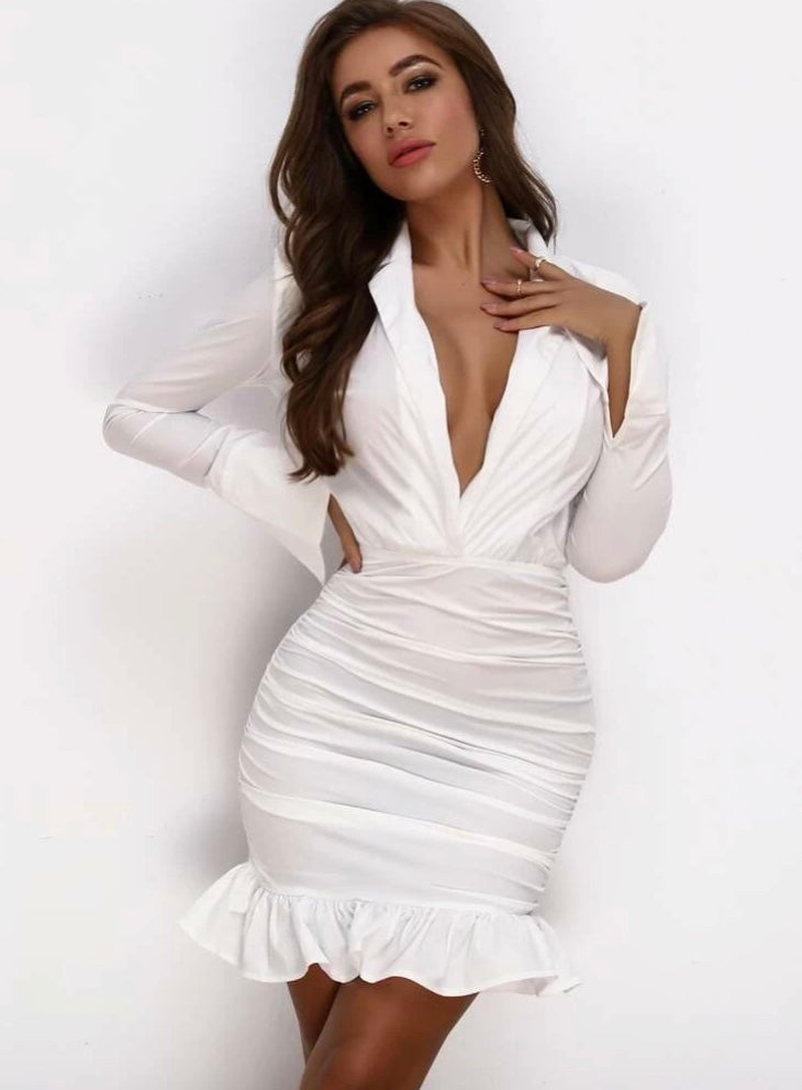 Plunge Neck Ruffle Ruched Bodycon Dress