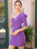 One Shoulder Purple Glitter Dress