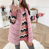 LAYERS PATTERN SHAGGY FAUX FUR GILET Rose