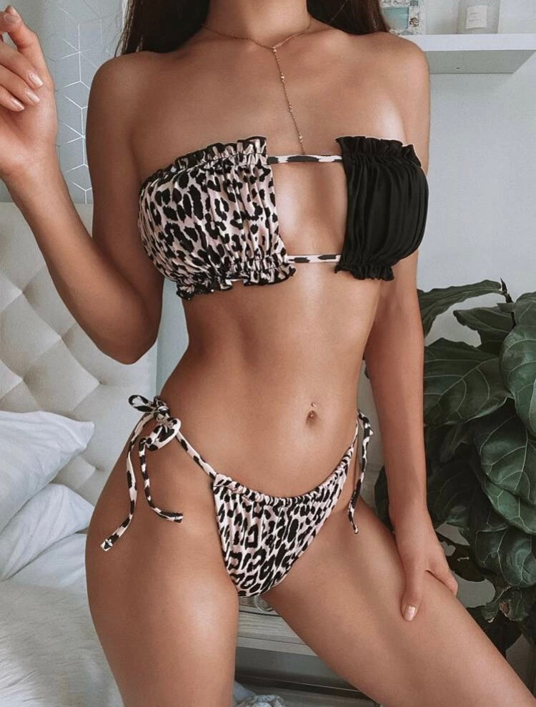 Leopard Ruched Bandeau Tie Side Set