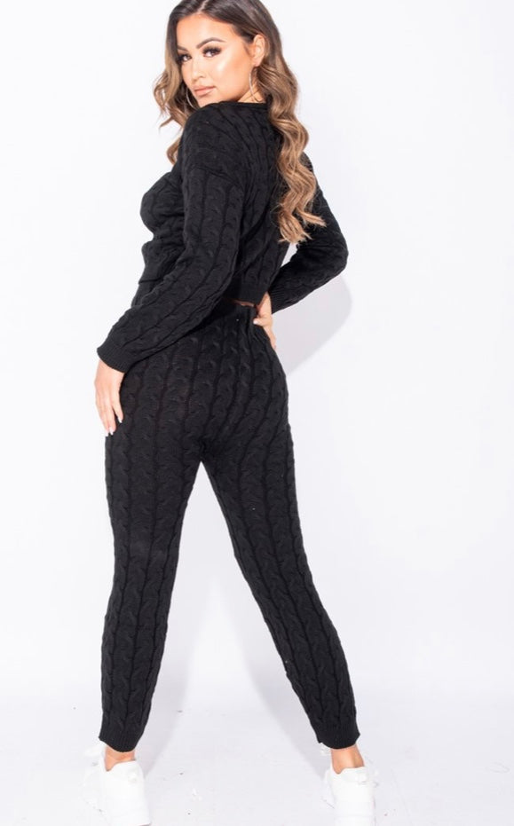 BLACK CABLE KNIT LONG SLEEVE CROPPED TOP & LEGGING LOUNGE SET