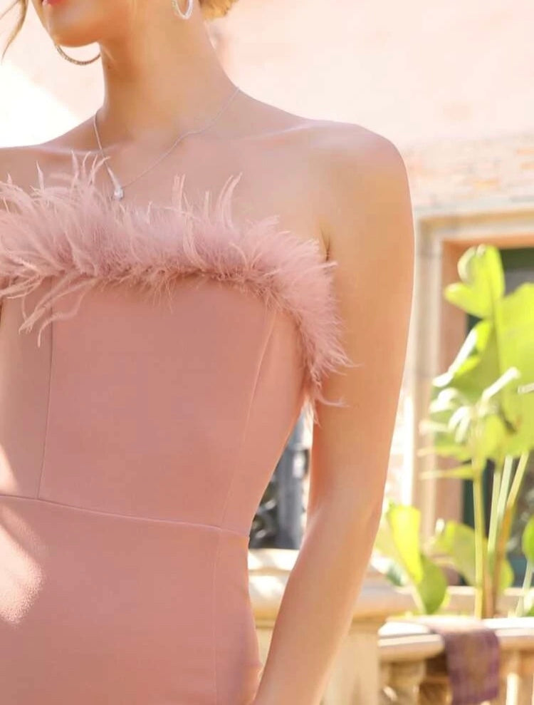 Faux Feather Trim Tube Dress