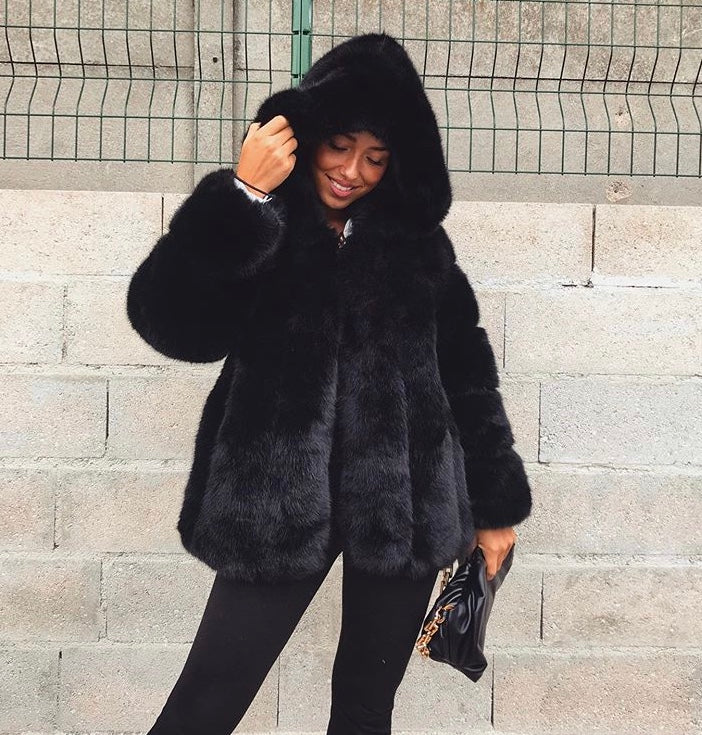 Thick Warm Faux Fur Coat Black