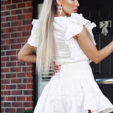 Frill Detail Lace Trim Waist Tie Mini White Dress