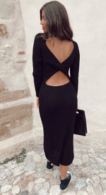 Long Knitted Open Back Dress